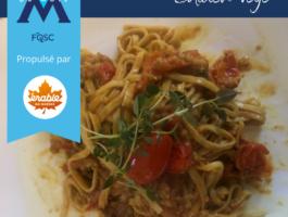 Recette de Médéric Carrier - Pâtes aux tomates confites, noix de Grenoble et sirop d'érable du Québec