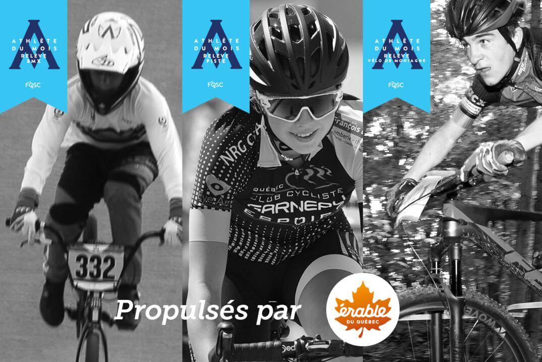 Édouard Proulx (BMX), Evaelle Fortier (Route) et Hugo Brisebois (VM) sont couronnés à titre d'athlète relève du mois