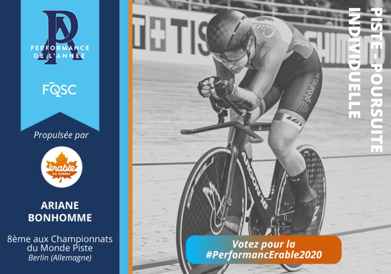 Ariane Bonhomme a terminé en 8e place à la poursuite individuelle lors des Championnats du monde Piste en Allemagne.Crédit photo : Rob Jones / canadiancyclist.com