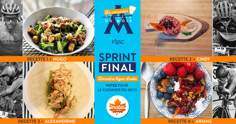 Les quatre finalistes du concours du Cuisinier du mois d'avril FQSC.