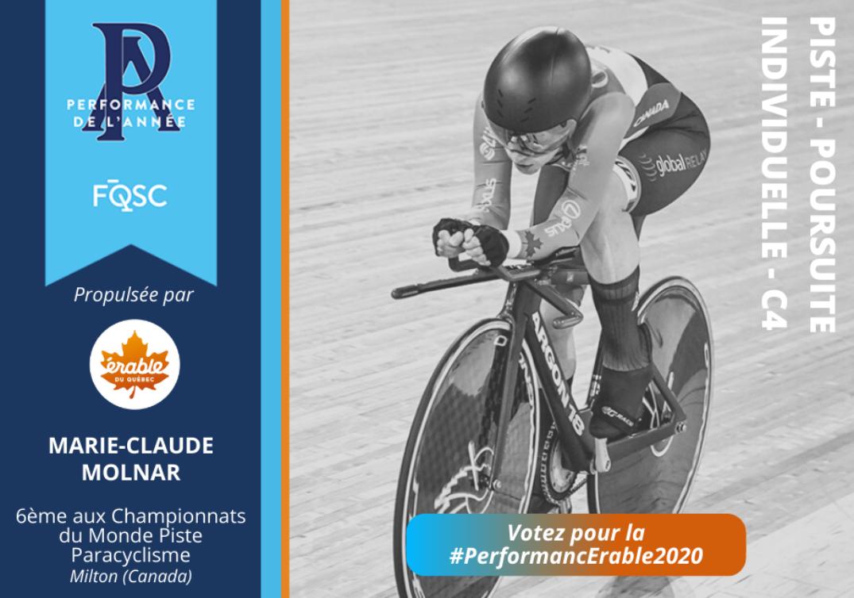 Marie-Claude Molnar a terminé au 6e rang de la poursuite individuelle lors des Championnats du monde Para Piste à Milton en 2020.  Crédit photo : Rob Jones / canadiancyclist.com