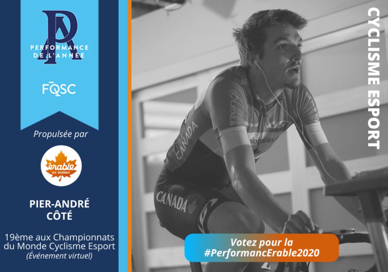 Pier-André Côté a terminé au 19e rang des Championnats du monde Esport de cyclisme.  Crédit photo : Cyclisme Canada
