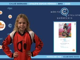 Chloé Bernard est nommée l'athlète espoir féminin de l'année en BMX.