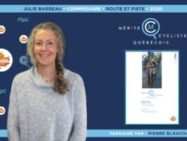 Julie Barbeau nommée commissaire de l'année en cyclisme sur route et piste.