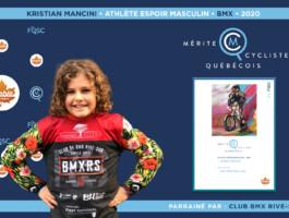 Kristian Mancini est nommé l'athlète espoir masculin de l'année en BMX.