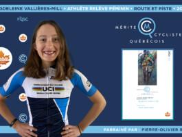 Magdeleine Vallières-Mill nommée athlète relève féminin de l'année en cyclisme sur route et piste.
