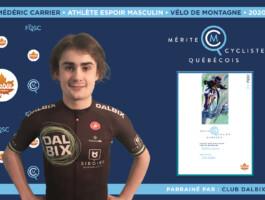 Médéric Carrier est nommé athlète espoir masculin de l'année en vélo de montagne.
