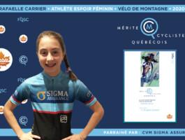 Rafaëlle Carrier est nommée athlète espoir féminin de l'année en vélo de montagne.