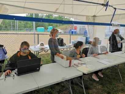 La grande majorité des personnes présentes portaient le couvre-visage.