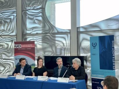 Conférence de presse sur la tenue des Championnats québécois sur route Élites à Baie-Comeau.