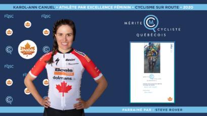 Karol-Ann Canuel nommée athlète féminine par excellence en cyclisme sur route.