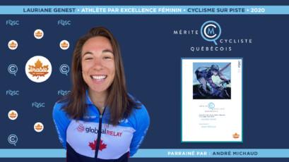 Lauriane Genest nommée athlète féminine par excellence en cyclisme sur piste.