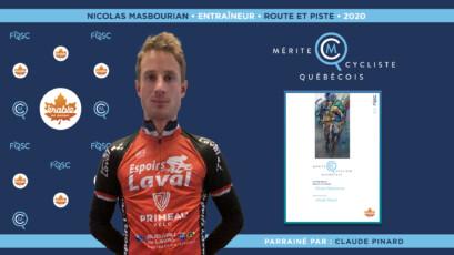 Nicolas Masbourian nommé entraîneur de l'année en cyclisme sur route et piste.