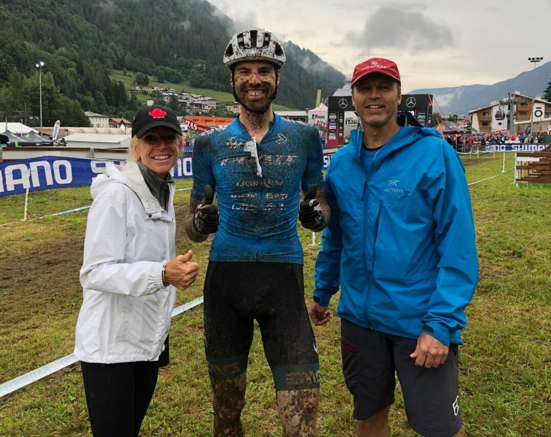 Léandre Bouchard après l'épreuve de XCC vendredi, à Val di Sole