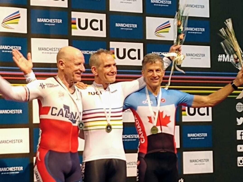Stéphane Le Beau sur le podium aux Championnats du monde Maîtres sur piste 2019