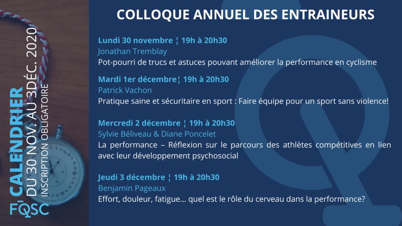 Programmation du Colloque des entraîneurs 2020.