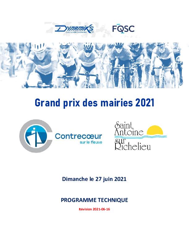 Grand Prix Des Mairies 2021 Programme Technique Version Revisee 2021 06 16