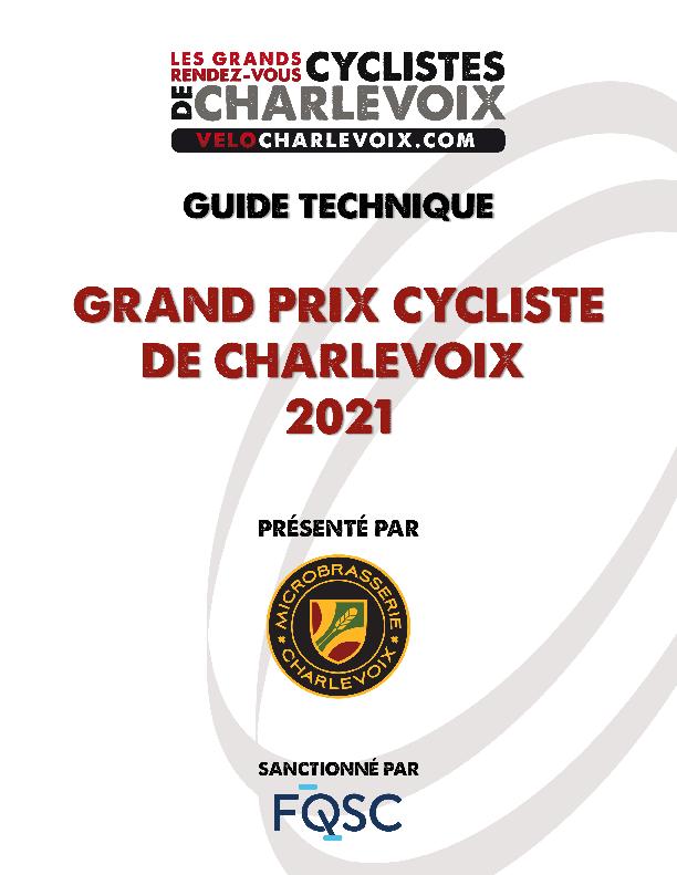 Guide Technique Grand Prix Charlevoix 2021