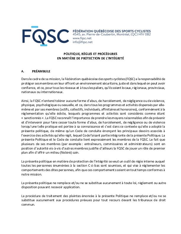 Politique en matière de protection de l'intégrité de la FQSC