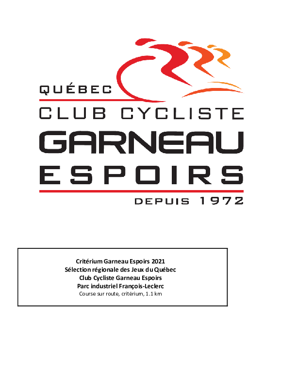 Guide Technique Criterium Garneau Espoirs 2 05 2021