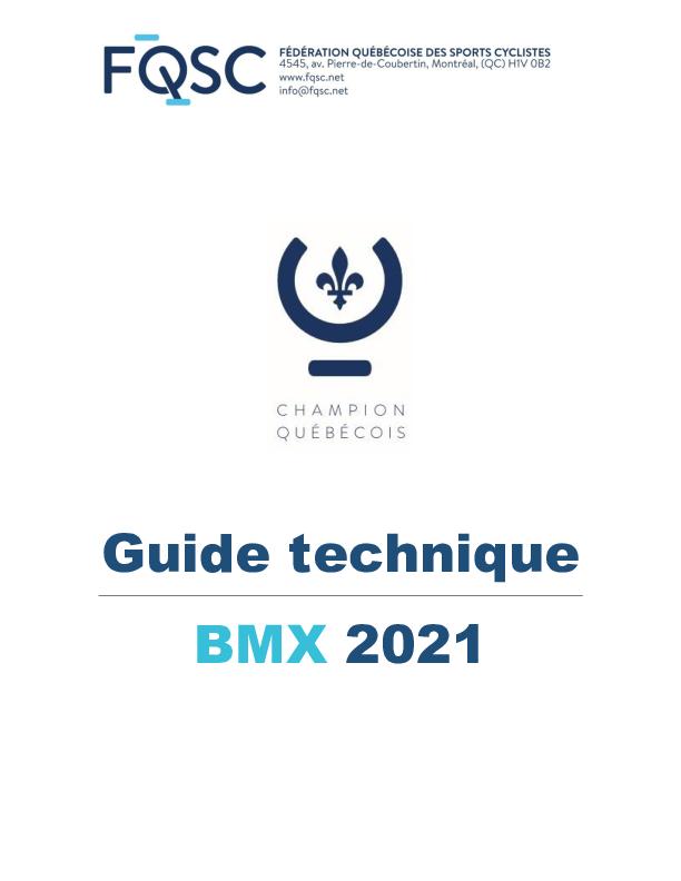 Guide Technique Championnats Quebecois Bmx Maj23Juillet