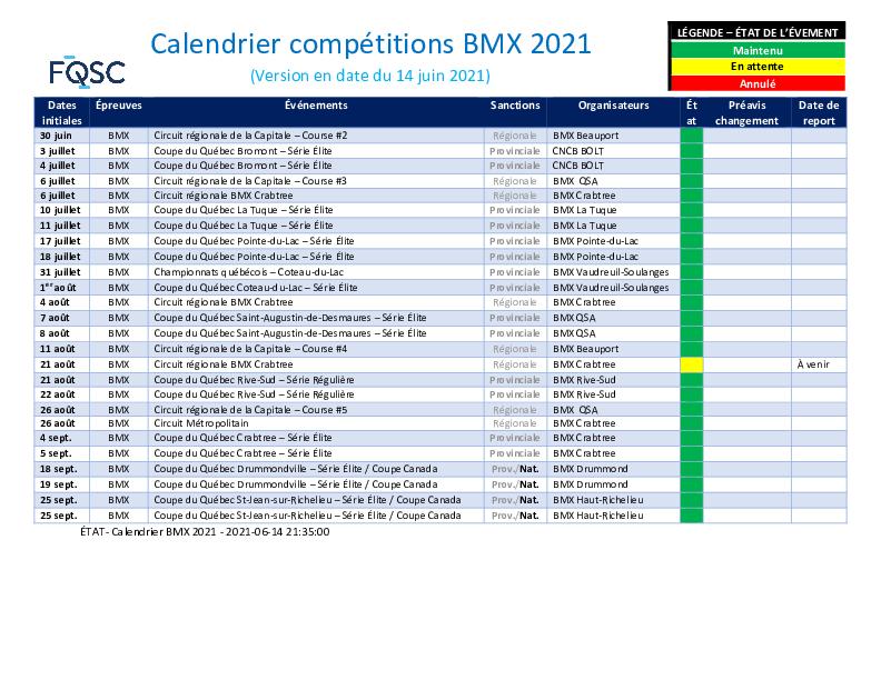 Etat Calendrier Bmx 2021 15 Juin