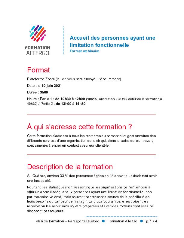 Web Fiche Plan De Formation Participants Parasports