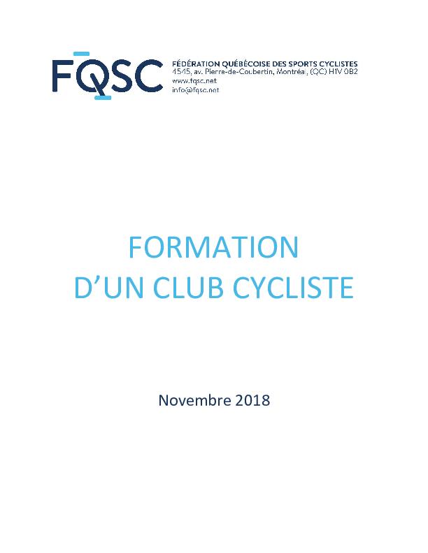 Guide de formation d'un club cycliste