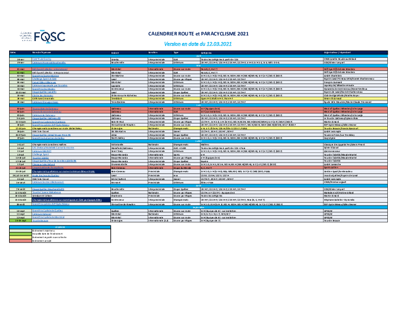 Calendrier Rp 2021
