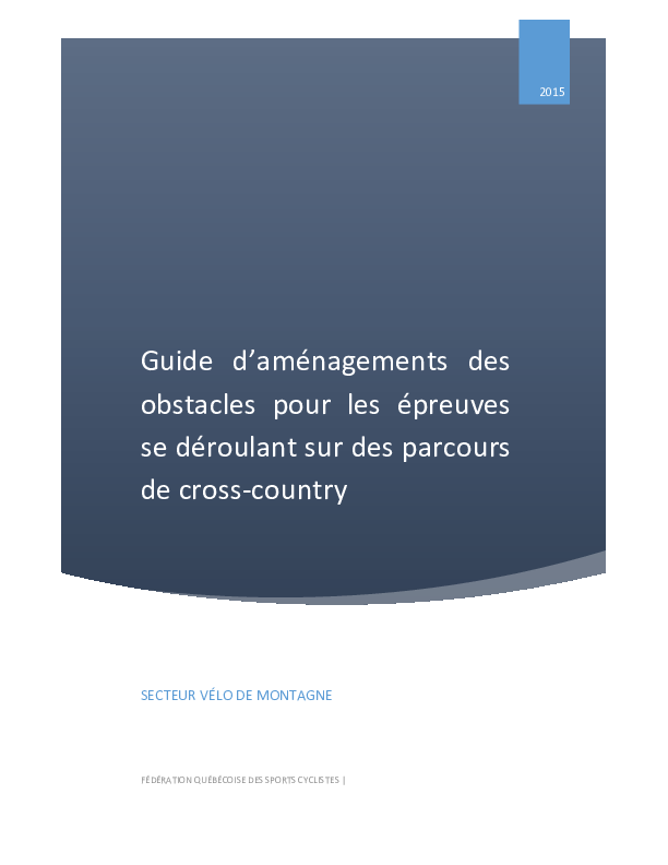 Guide d'aménagements des obstacles cross-country