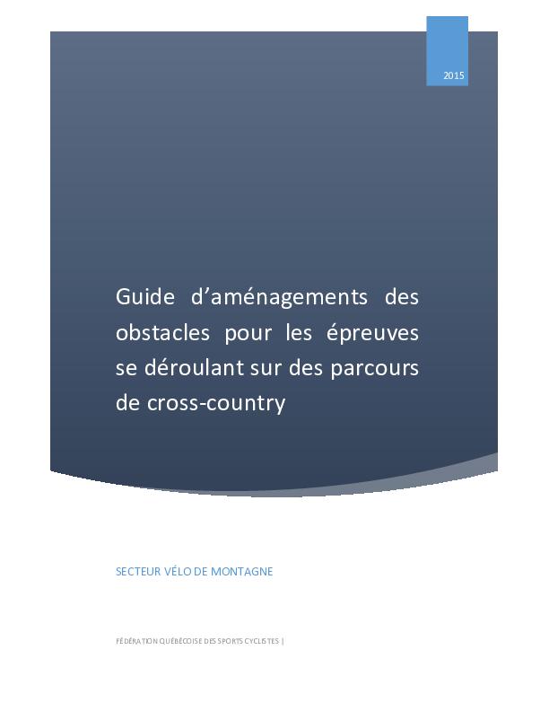 Guide d'aménagements des obstacles cross-country