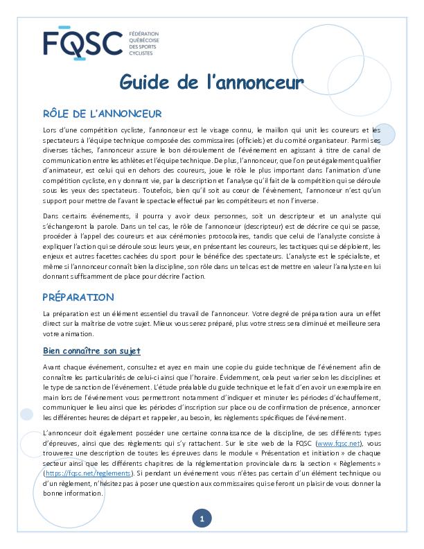 Guide De Lannonceur Fqsc 12 07 2019