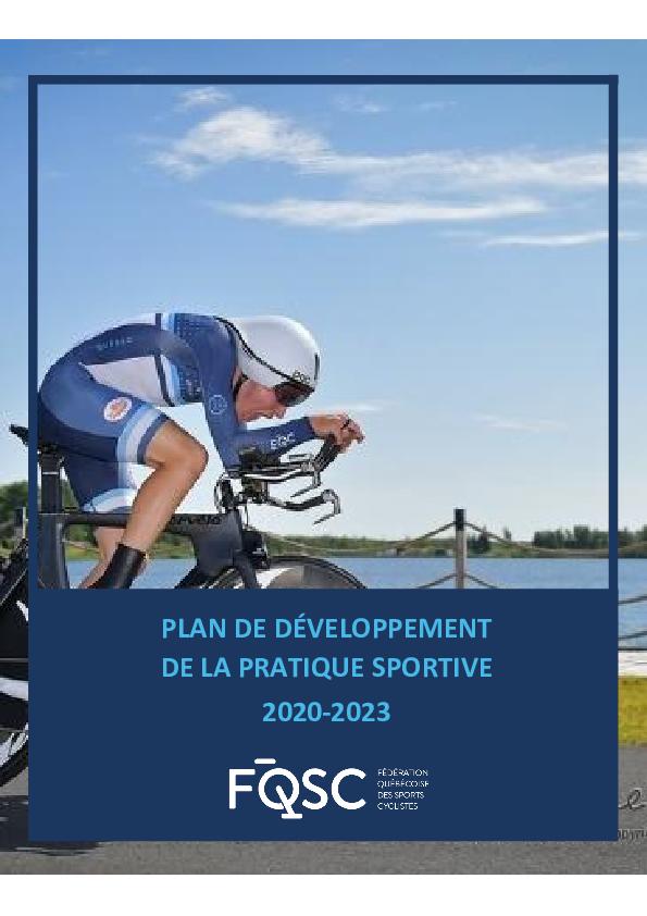 Plan de développement de la pratique sportive de la FQSC - 2020/2023