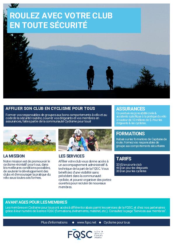 Offre de services pour les clubs en Cyclisme pour tous
