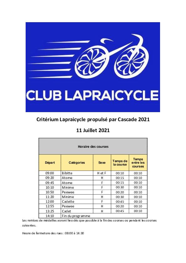 Grand Prix Lapraicycle 2021 Guide Technique