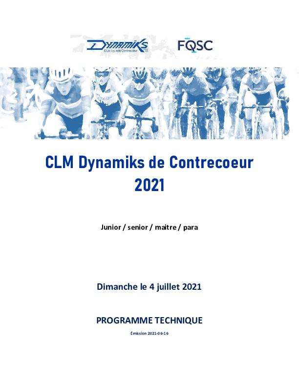 Clm Dynamiks 2021 Programme Technique Version 2021 06 16